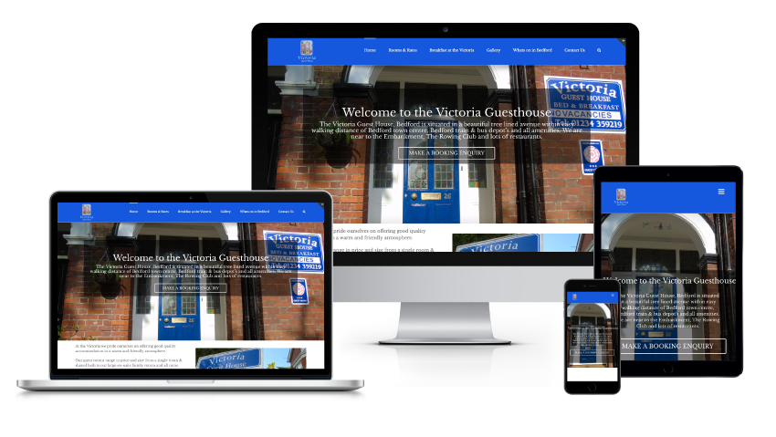 Victoria Guest House responsive hotel website design displayed across multiple devices